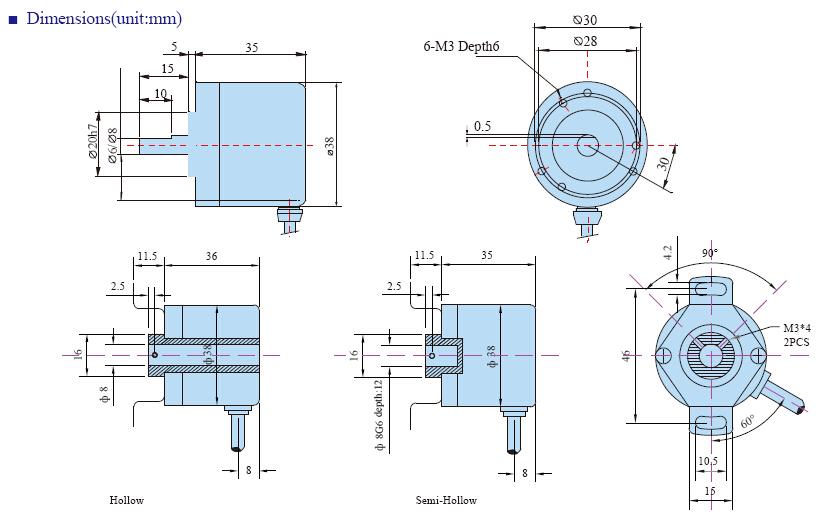 E38 INFO 5 - روتاری اینکودر هالو شفت توکی Toky مدل E38H8-1024-3-T-24