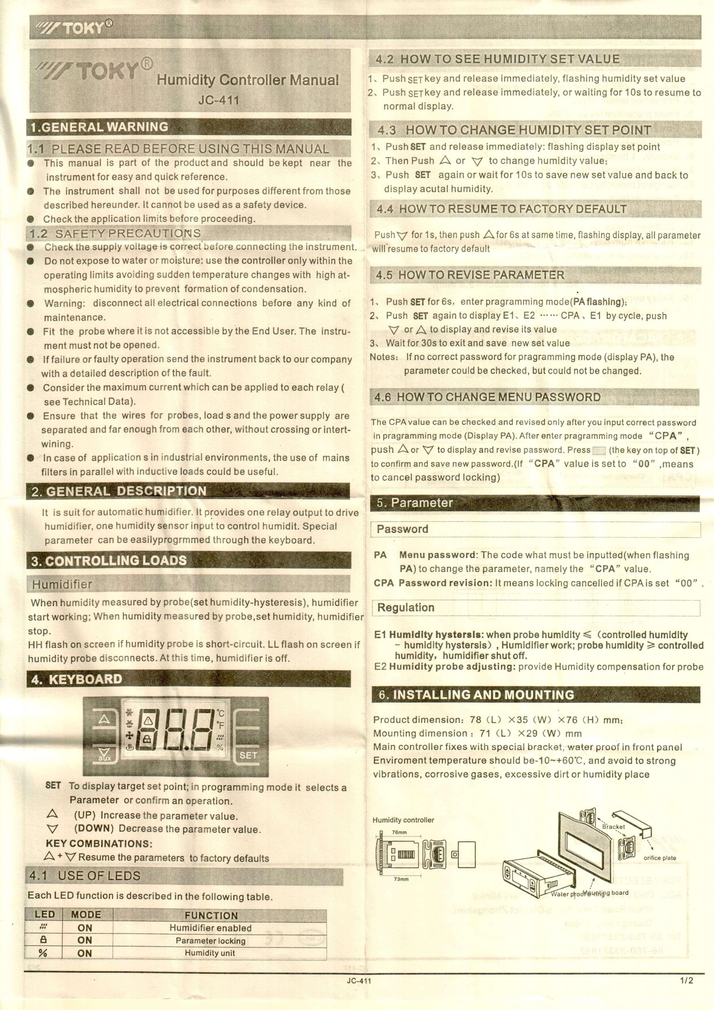 JC411 INFO 1 - کنترلر رطوبت ( رطوبت سنج ) توکی Toky مدل JC-411