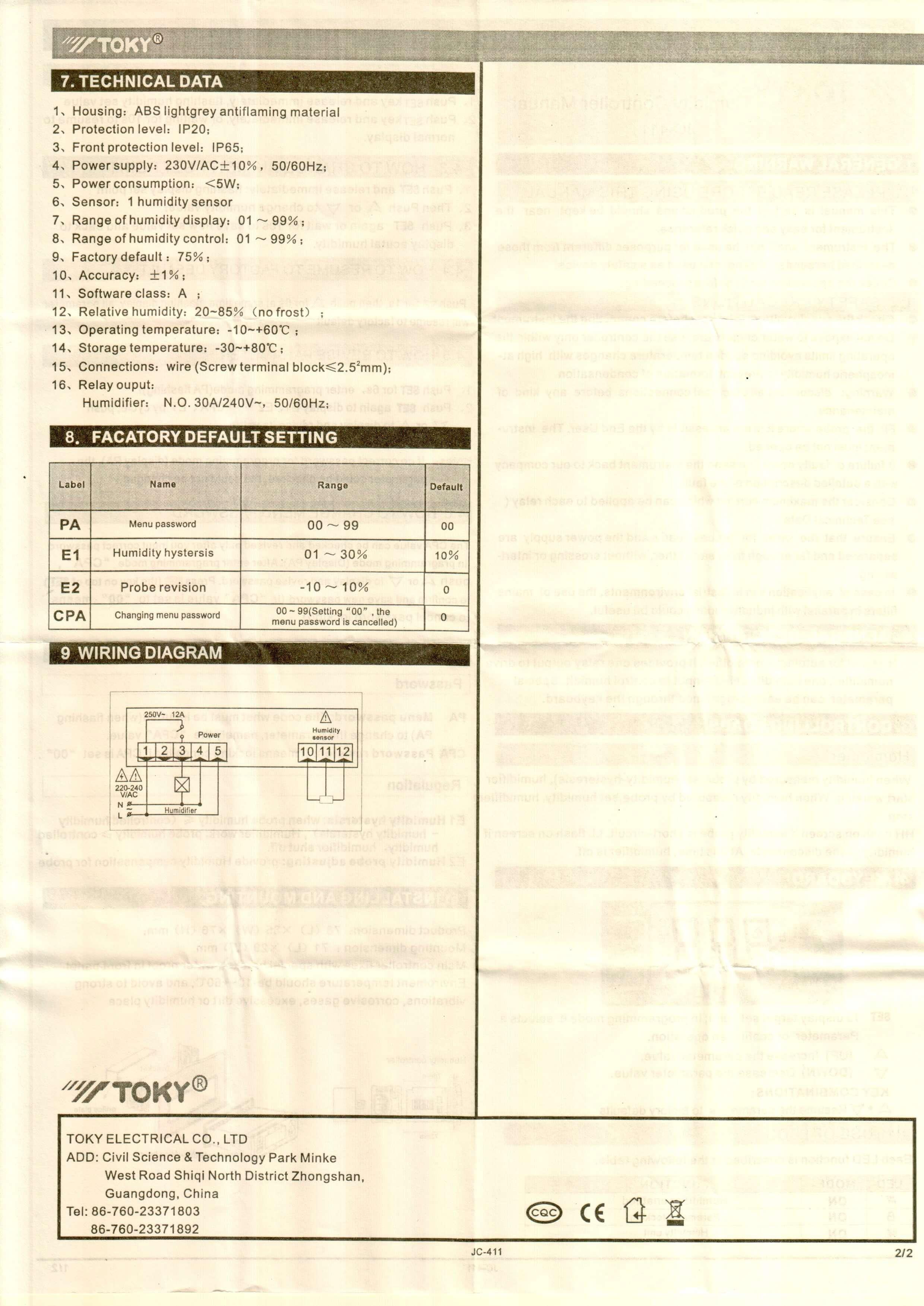 JC411 INFO 2 - کنترلر رطوبت ( رطوبت سنج ) توکی Toky مدل JC-411