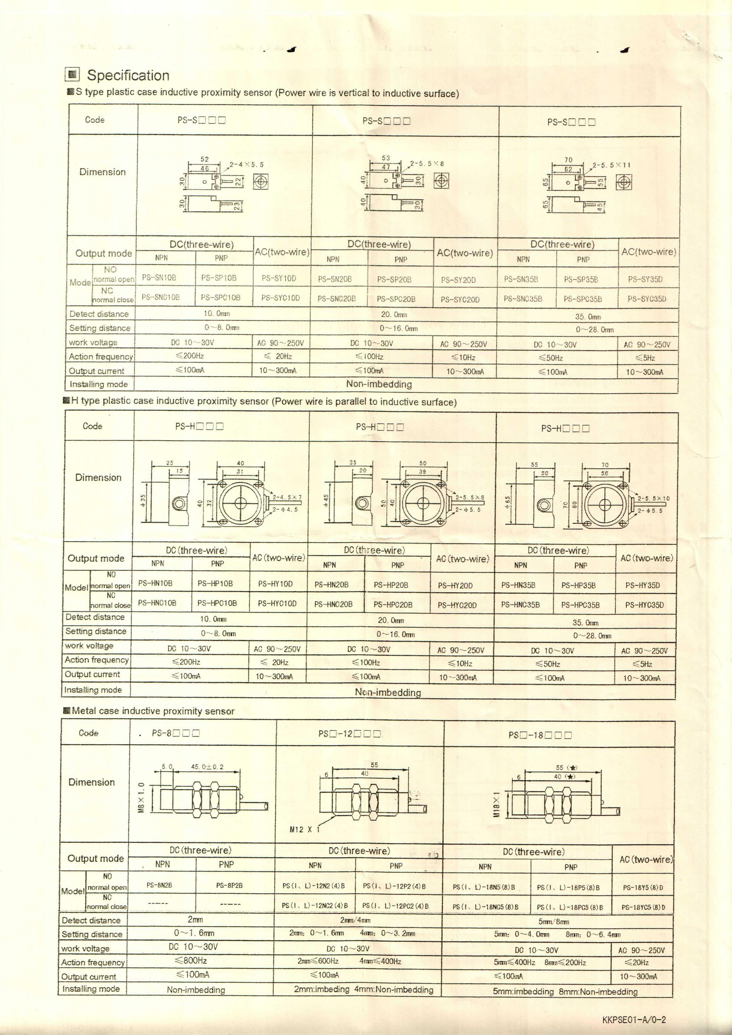 PS INFO 2 - سنسور القایی توکی Toky مدل PS-HN35C