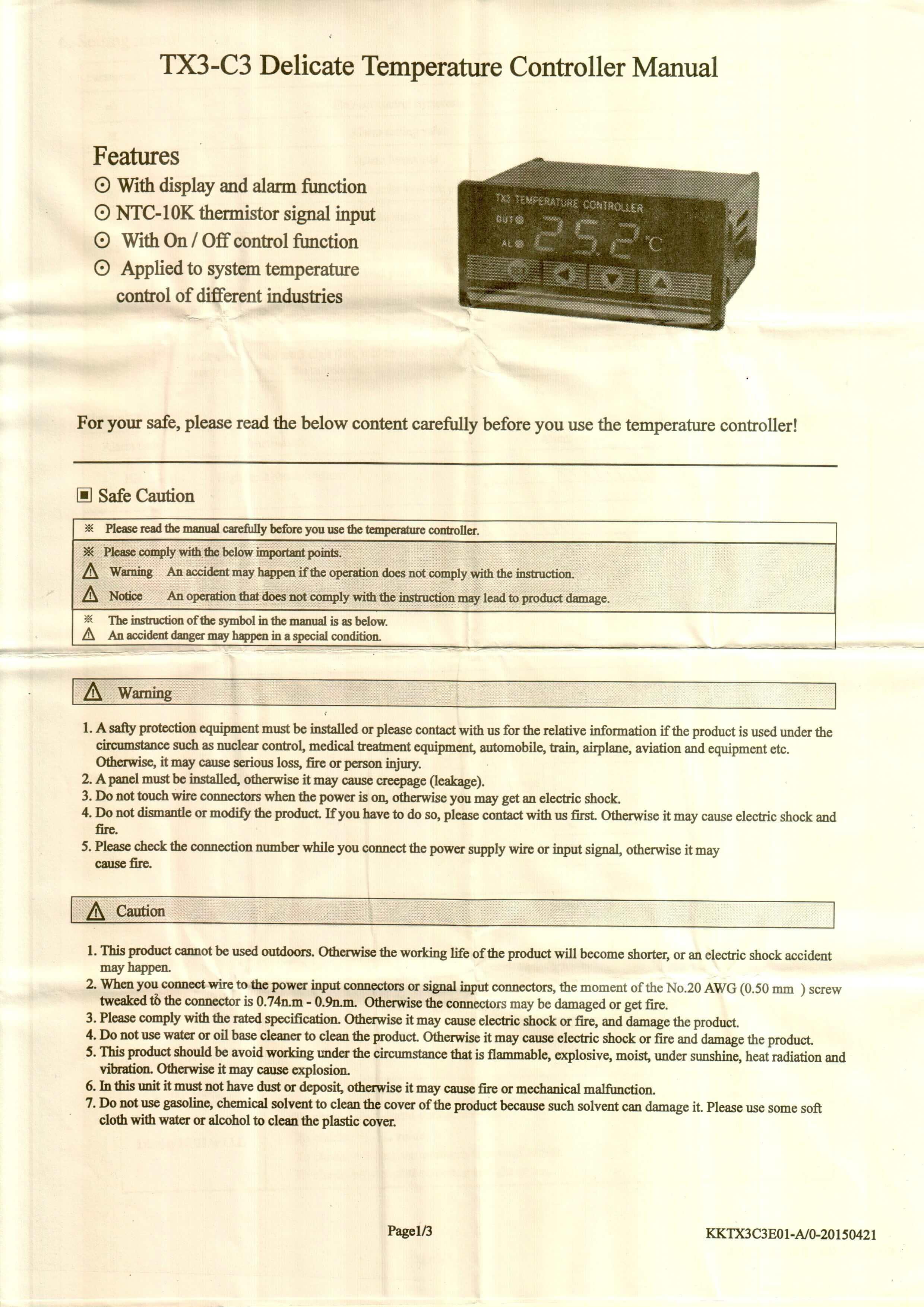 TX3 INFO 1 - کنترلر دما توکی Toky مدل TX3-C3