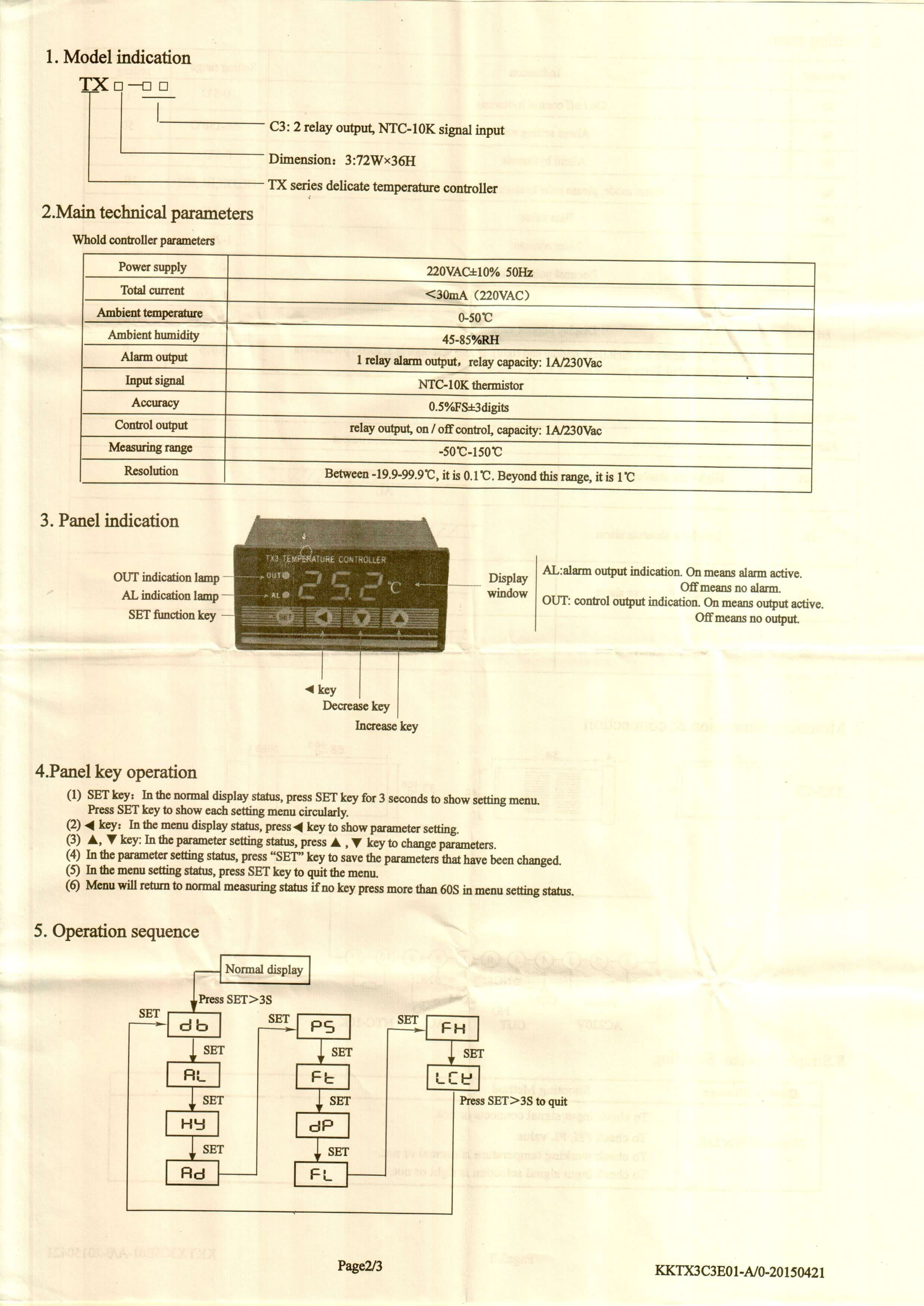 TX3 INFO 2 - کنترلر دما توکی Toky مدل TX3-C3